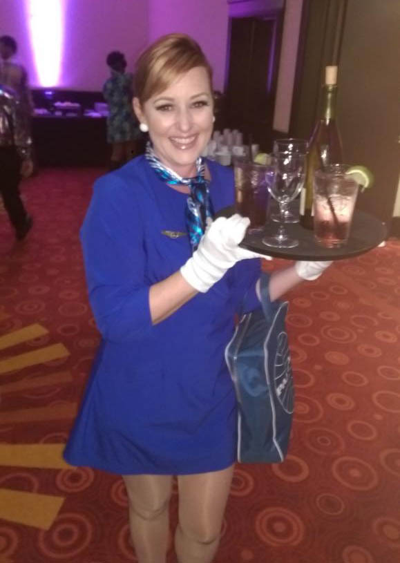 Bobbie Shay Lee as a vintage Pan Am flight attendant at the St. Pete Glitter Queens fundraiser