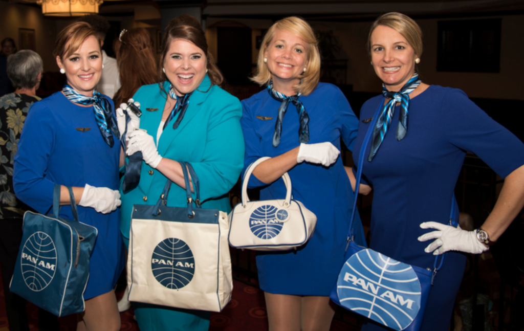 Bobbie Shay Lee, Ginger Reichl, Mandi Houston and Christina Xenakis as a vintage Pan Am flight attendants at the St. Pete Glitter Queens fundraiser